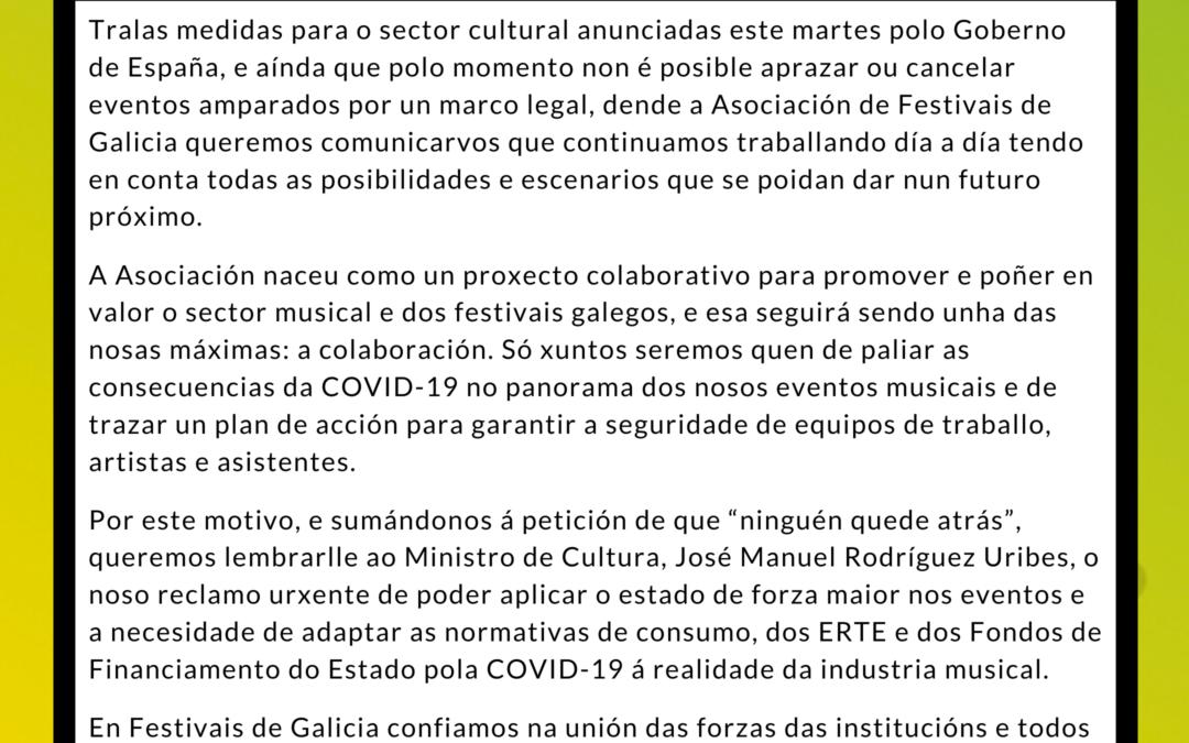 Comunicado oficial de Festivais de Galicia