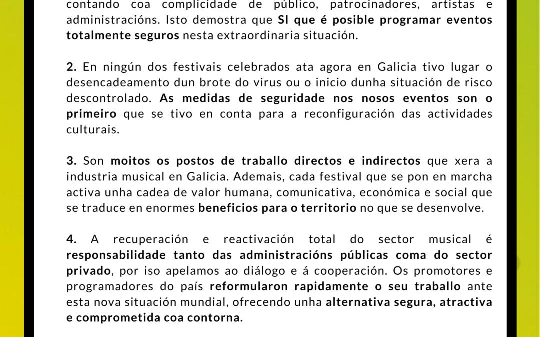 Comunicado Festivais de Galicia