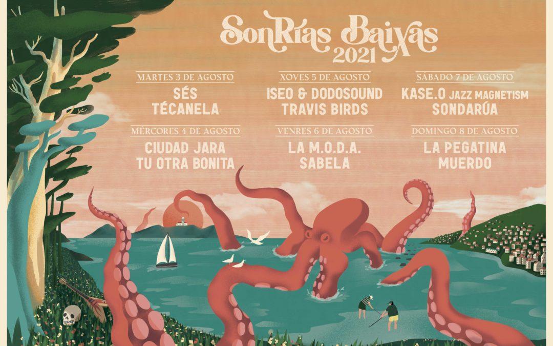 O SonRías Baixas 2021 celébrarase do 3 ao 8 de agosto e contará con Kase.O, La Pegatina, Sés, La M.O.D.A., Travis Birds, ISEO & Dodosound ou Sabela no cartel